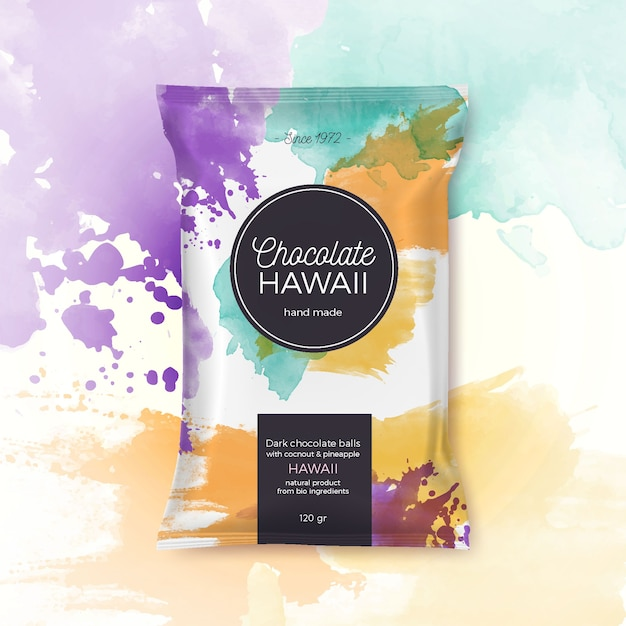Chocolate hawaii colorful packing Free Vector