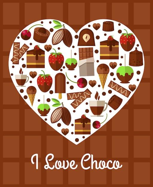 チョコレートハートポスター。私はチョコが大好きです 無料ベクター