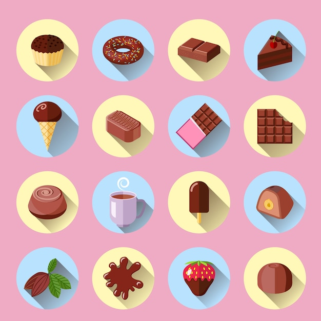 Chocolate ice cream sweet food bar flat icons set isolated vector illustration Premium Vector