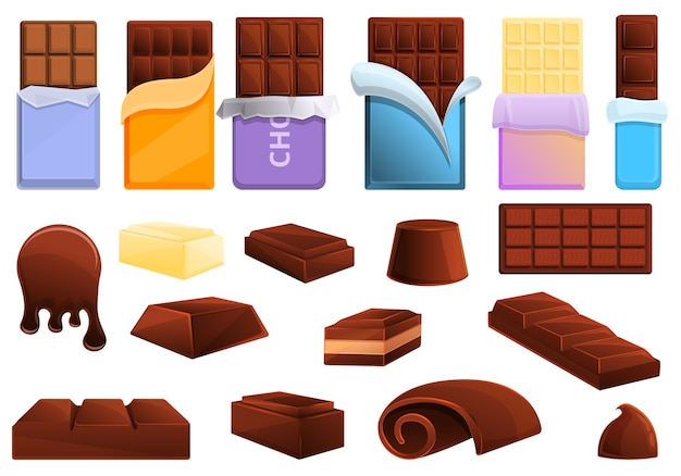 Chocolate icons set. cartoon set of chocolate  icons for web Premium Vector