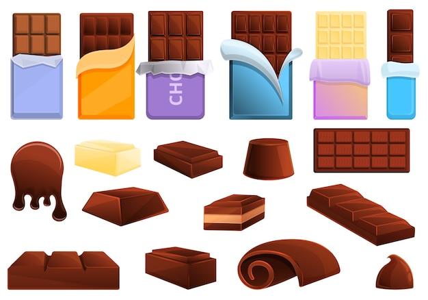 초콜릿 아이콘을 설정합니다. 웹에 대 한 초콜릿 아이콘 만화 세트 프리미엄 벡터