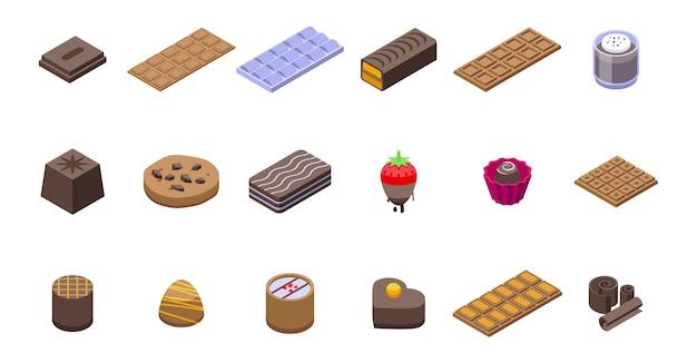 초콜릿 아이콘을 설정합니다. 흰색 배경에 고립 된 웹에 대 한 초콜릿 아이콘의 아이소 메트릭 세트 프리미엄 벡터