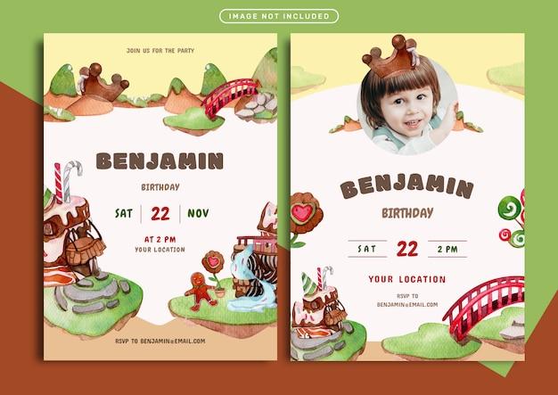 チョコレートの土地をテーマにした誕生日の招待カードテンプレート Premiumベクター