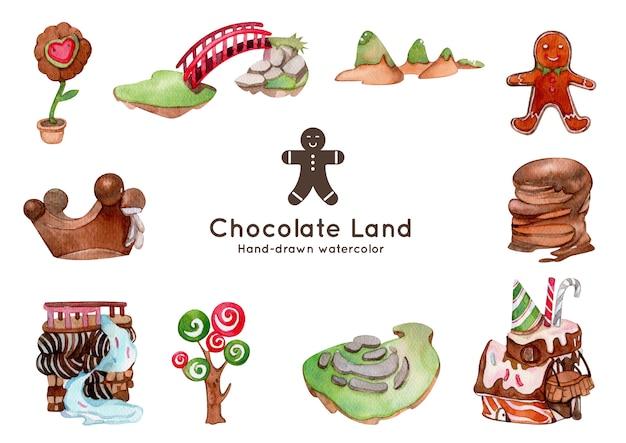 チョコレートランドテーマ水彩イラスト Premiumベクター