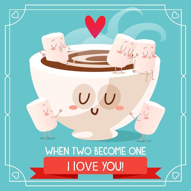 Disegno di sfondo di cioccolato e marshmallow Vettore gratuito