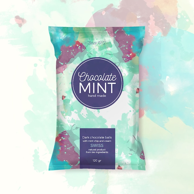 Chocolate mint colorful packing Free Vector