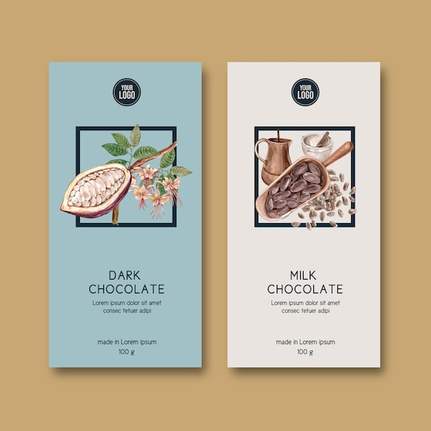 Chocolate packing with ingredients branch cocoa, watercolor illustration Free Vector