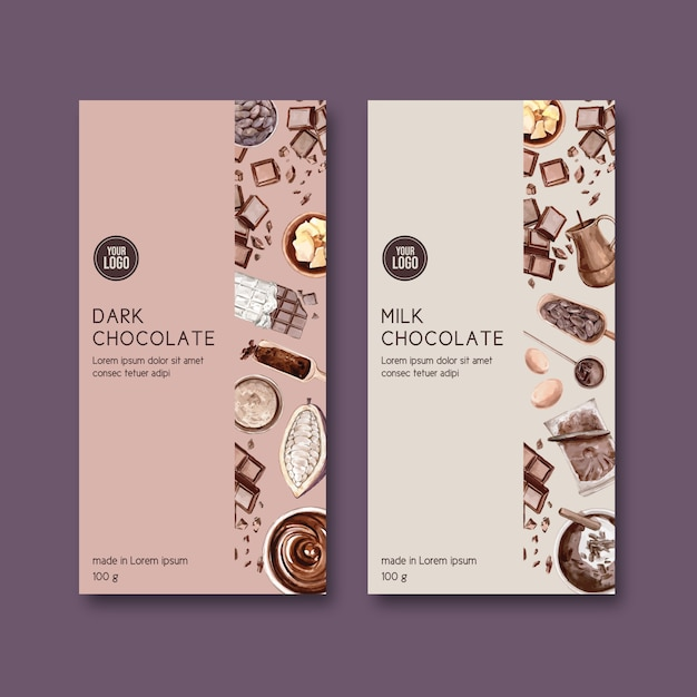 Chocolate packing with ingredients cocoa making, watercolor illustration Free Vector