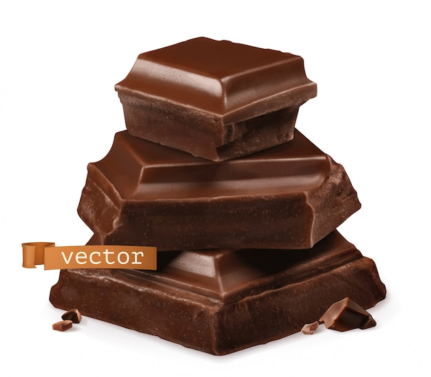 Кусочки шоколада 3d реалистичный значок Premium векторы