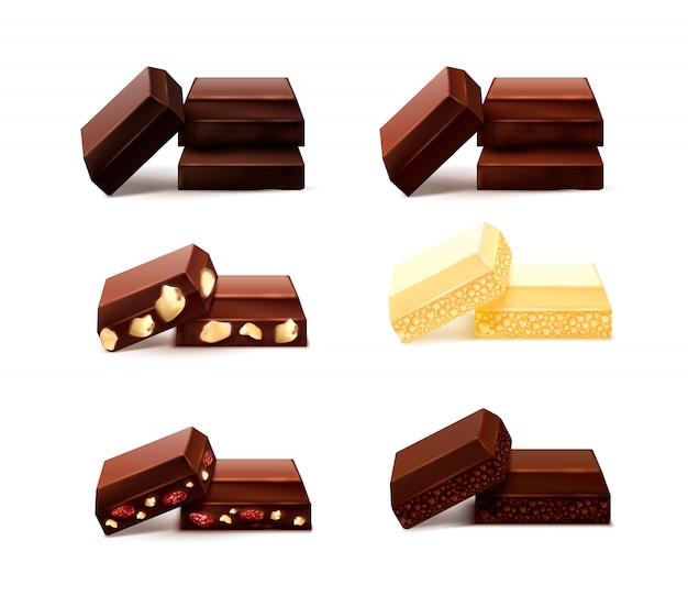 空白の背景にさまざまな味のチョコビットの孤立した画像が現実的なチョコレートの作品セット 無料ベクター