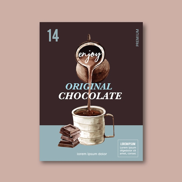 Chocolate poster with chocolate drink frappe, watercolor illustration Free Vector
