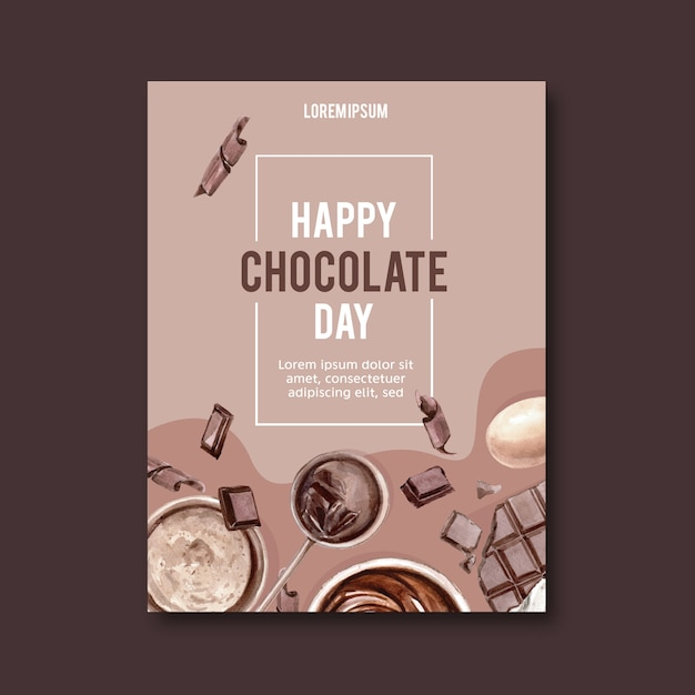 Chocolate poster with ingredients making chocolate bar broke, watercolor illustration Free Vector