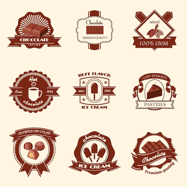 Chocolate premium quality natural cocoa best flavor ice cream badge set isolated vector illustration Free Vector