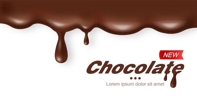 Chocolate realistic, delicious dessert, dark cacao, white background Premium Vector