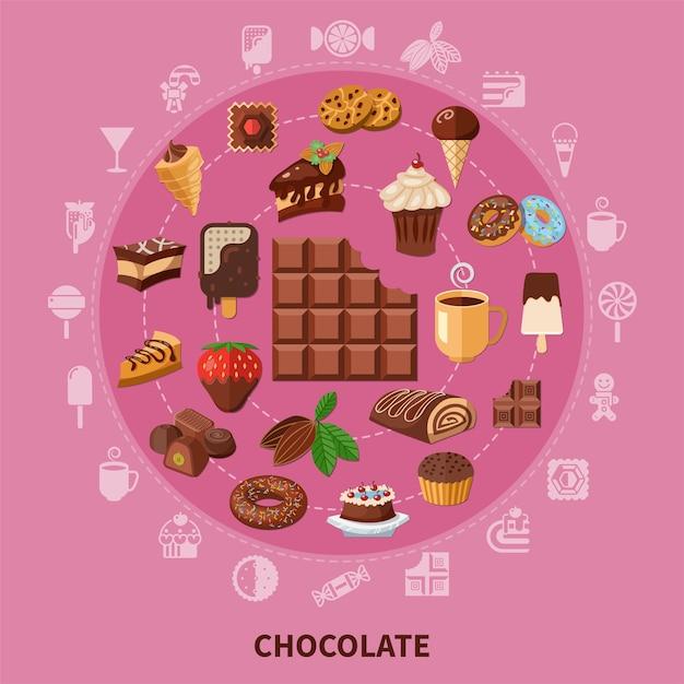 カカオ豆、ペストリー、キャンディー、アイスクリームからの飲み物とピンクの背景にチョコレートラウンド構成 無料ベクター