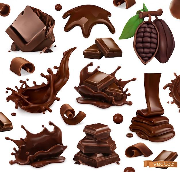 チョコレートセット。水しぶき、小片、チョコレートの削りくず、カカオ豆。 3dリアル。食べ物イラスト Premiumベクター