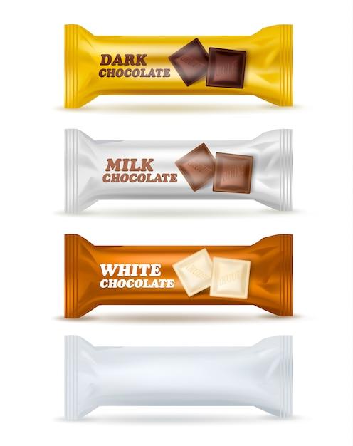 Insieme d'imballaggio isolato spuntino del cioccolato Vettore gratuito
