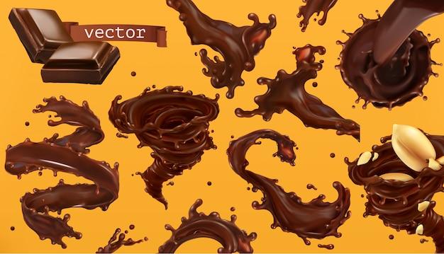 Шоколадный всплеск. 3d реалистичный набор иконок Premium векторы