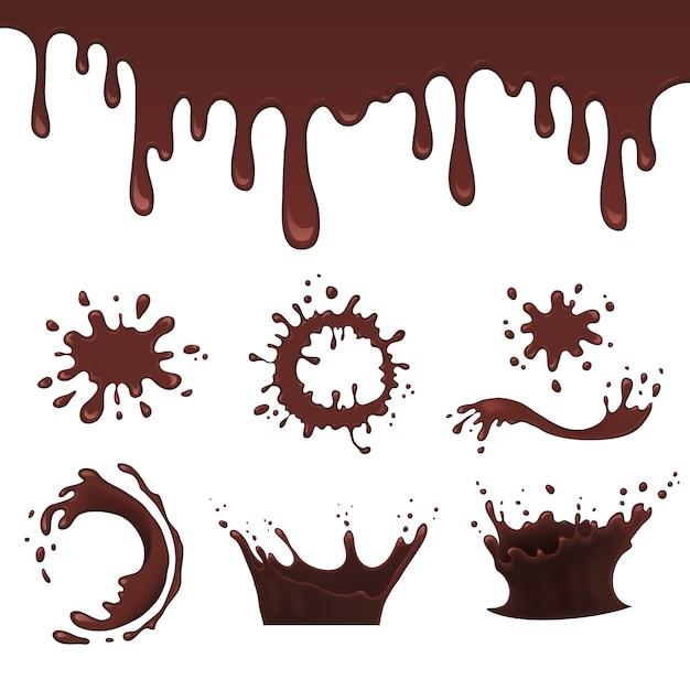 premium vector chocolate splash set vector illustration https www freepik com profile preagreement getstarted 6027063