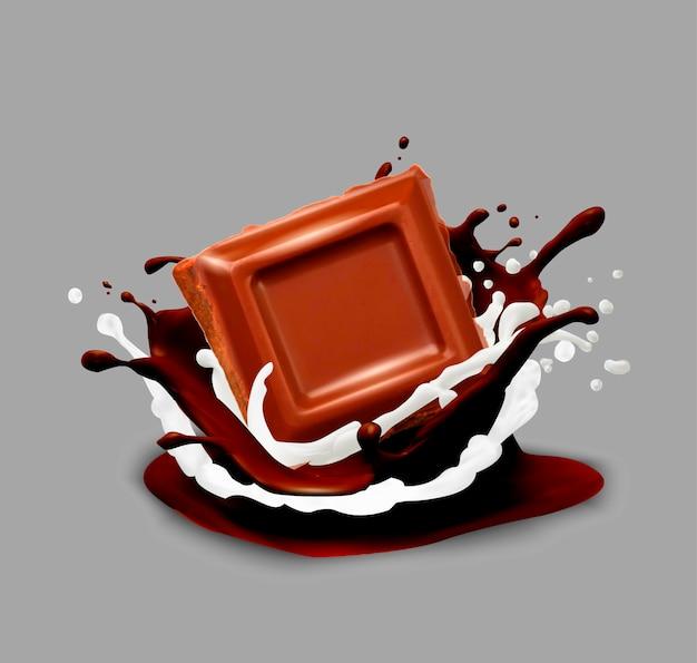 Chocolate in splash. vector illustration. Premium Vector