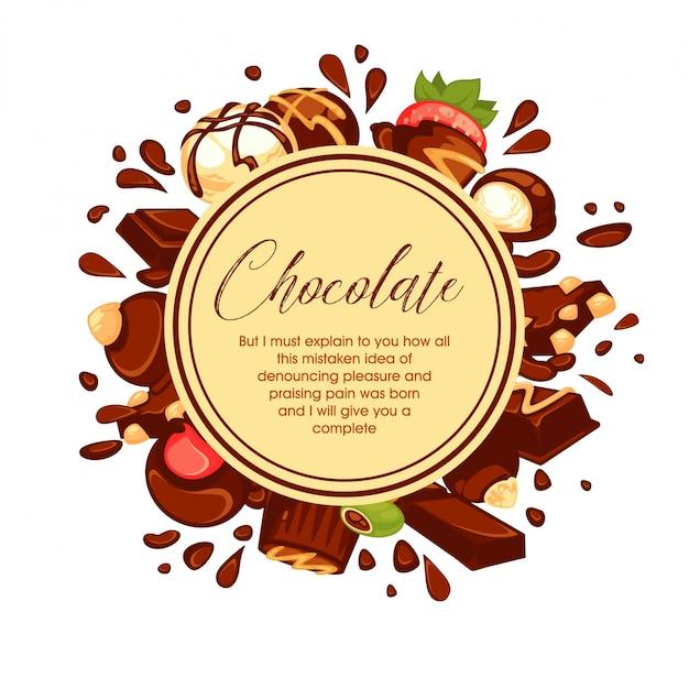 Chocolate splashes and candies around circle on white Premium Vector