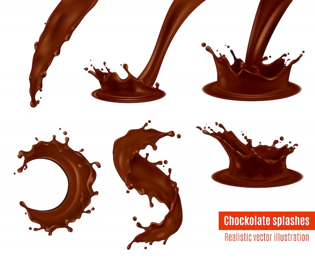 Chocolate splashes realistic set Free Vector