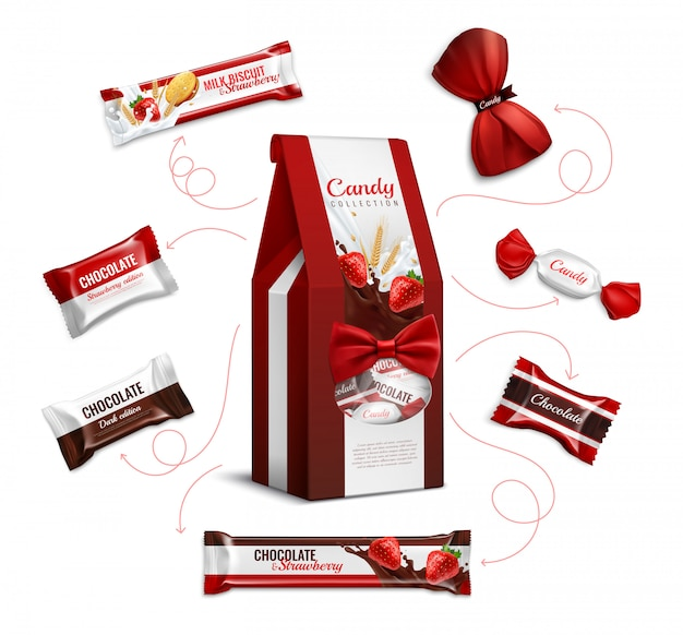 Chocolate strawberry flavored candies and biscuits in colorful foil wrappings varieties pack realistic advertising composition Free Vector
