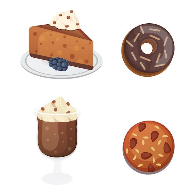 Шоколадный сладкий десерт в плоском дизайне Premium векторы