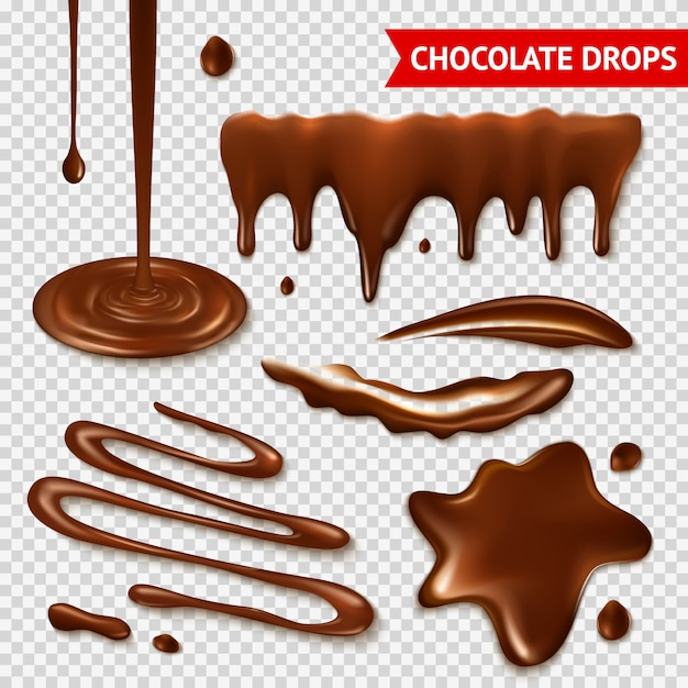 Chocolate transparent set Free Vector