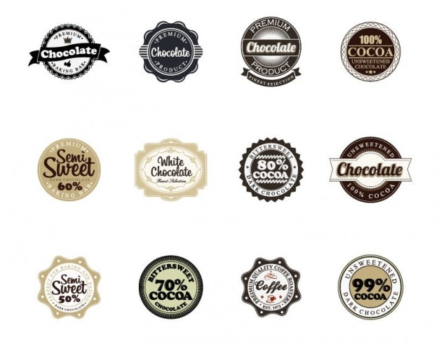 chocolate vector badges Free Vector