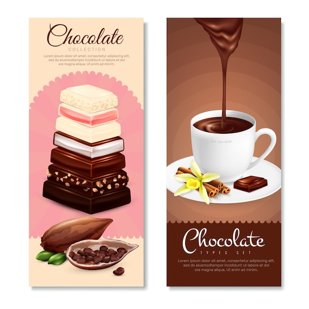 Chocolate vertical banners set Free Vector