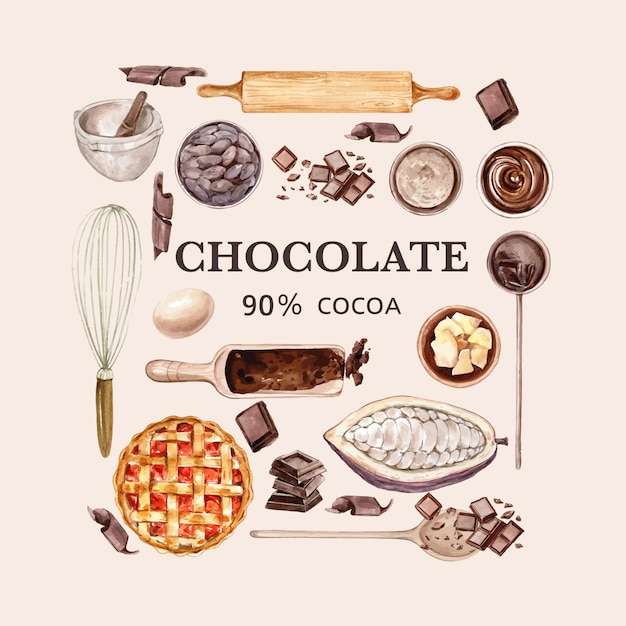 Chocolate watercoloringredients, making chocolate bakery, leaves cocoa, butter, illustration Free Vector