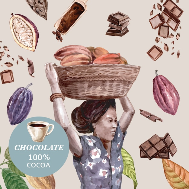 Chocolate with woman harvesting cacao watercoloringredients, making chocolate, illustration Free Vector