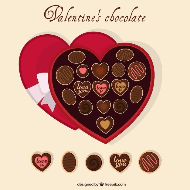 Chocolates Heart Shaped Box Vector Free Download
