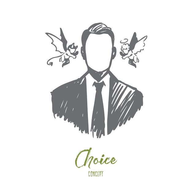선택, 직감, 사업가, 의심, 반대 개념. 천사와 악마 그의 머리 개념 스케치 근처 손으로 그려진 된 사람. 프리미엄 벡터