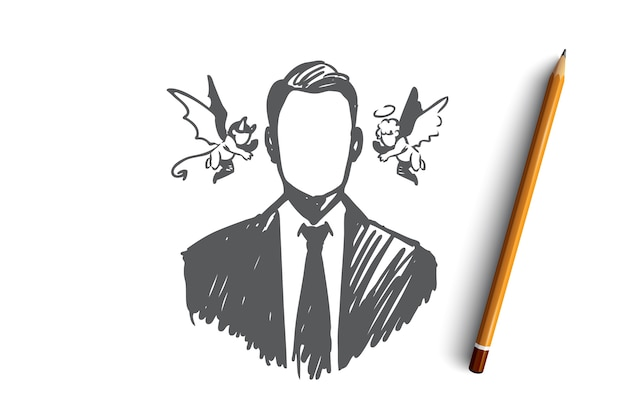 Choice, intuition, businessman, doubt, opposition concept. hand drawn person with angel and demon near his head concept sketch. Premium Vector