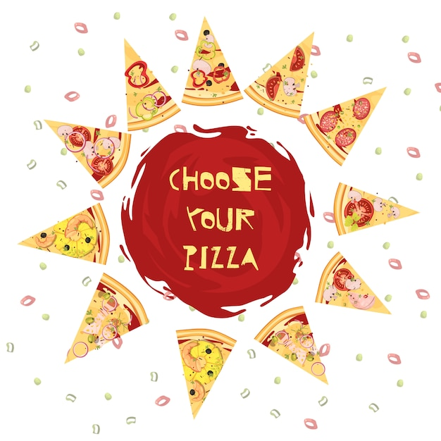 Choice of pizza round design Free Vector