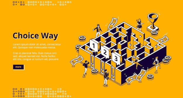 Choice way isometric landing page, business men choose between three doors to enter in maze, Free Vector