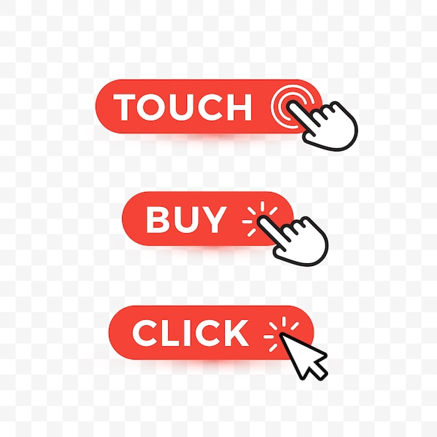 Choice web buttons set. touch, but and click text on rounded buttons with arrows or hand pointer. Premium Vector