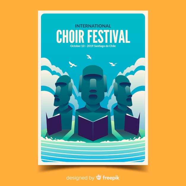 Choir festival poster with gradient illustration Free Vector