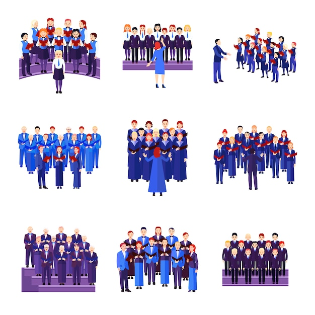 Choir flat icons collection of 9 musical ensembles of singers dressed in blue navy black Free Vector