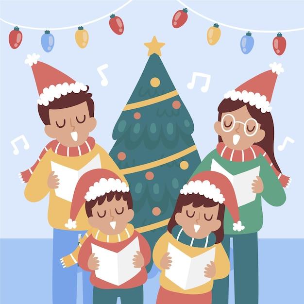 クリスマスキャロルを歌う人々の合唱団 無料ベクター