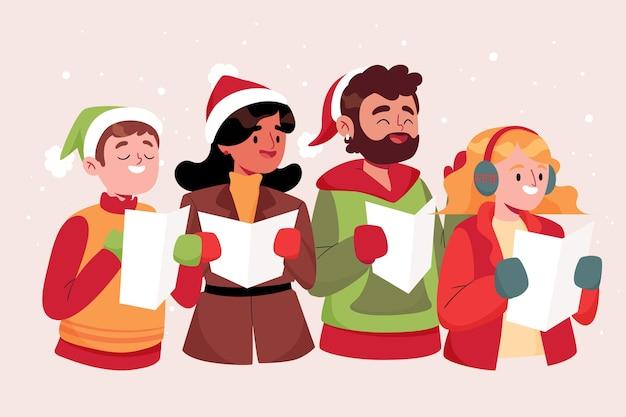 Хор людей, поющих рождественские гимны Бесплатные векторы