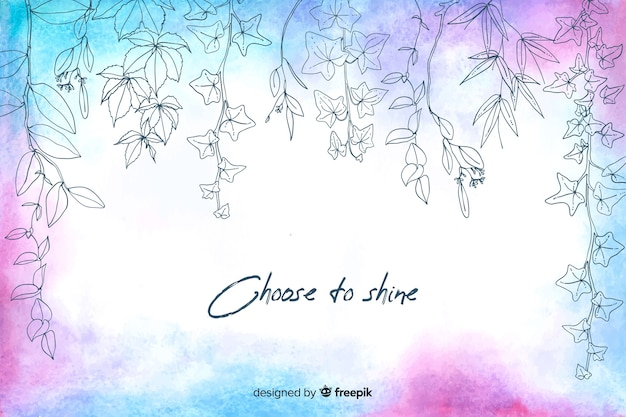 Choose to shine watercolour floral background Free Vector