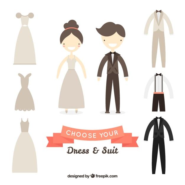 Choose your wedding dress & suit Vector | Free Download