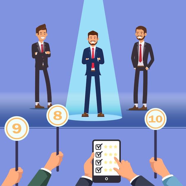 Choosing best employee. men stand on stage. vector Premium Vector