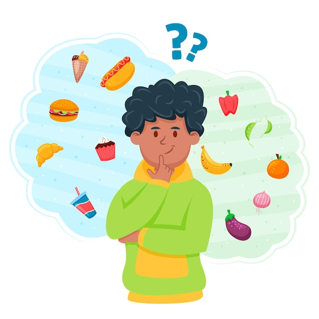 人間が考える健康食品か不健康食品かを選択する Premiumベクター