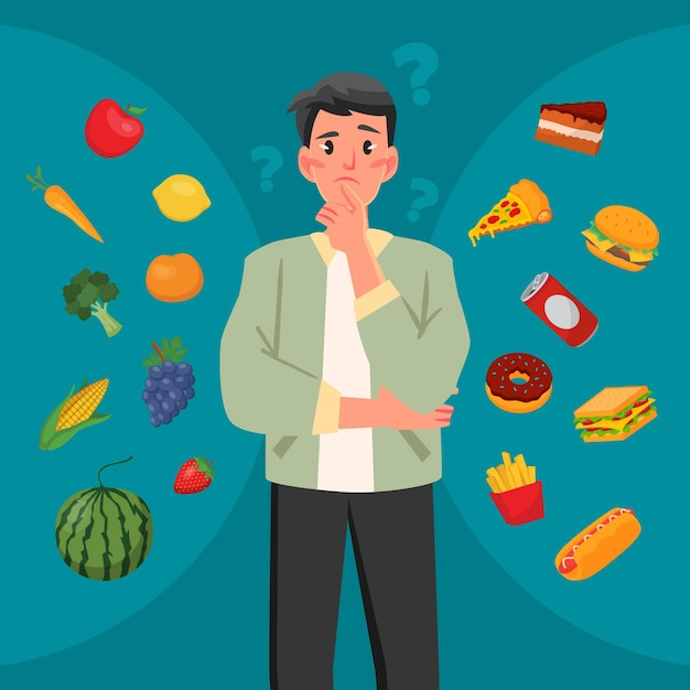 健康食品か不健康食品かを選択する Premiumベクター