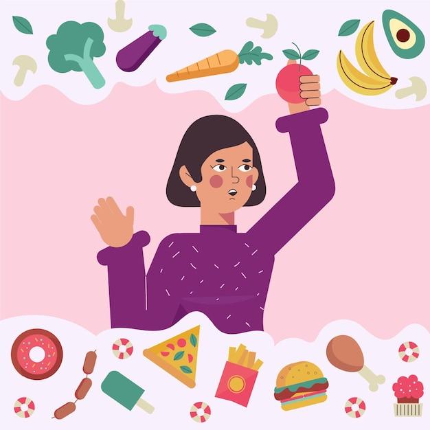 健康食品か不健康食品かを選択する 無料ベクター