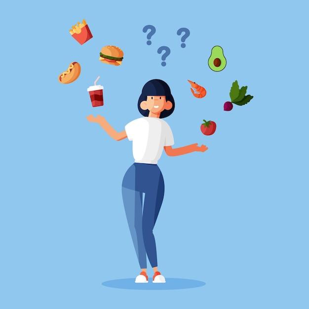 Выбор между здоровой или нездоровой пищей Бесплатные векторы